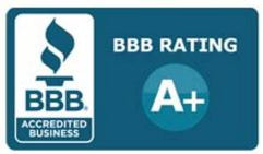 BBB A+ rating logo for AED Roofing and Siding serving Chesapeake, VA
